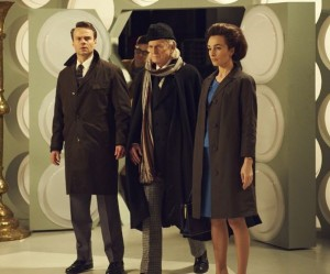 Jamie Glover as William Russell,  David Bradley as The Doctor and Jemma Powell as Jacqueline Hill