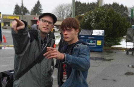 "Jason with Dakota Daulby (""Jake"") on the set of BLACK FLY"