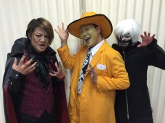 Teru (left) and comedian Masahiro Ehara (middle).