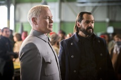 "DC's Legends of Tomorrow -- ""Pilot, Part 2"" LGN102_20150917_0279b -- Pictured (L-R): Neal McDonough as Damien Darhk and Casper Crump as Vandal Savage -- Photo: Diyah Pera/The CW -- © 2015 The CW Network, LLC. All Rights Reserved."