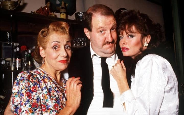 Gorden Kaye w/ 'Allo 'Allo! cast members Carmen Silvera (left) & Vicki Michelle (right).